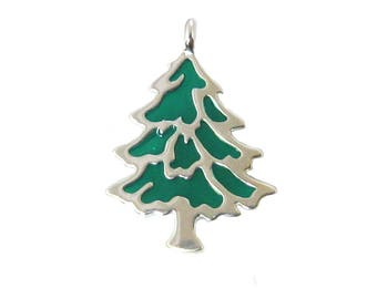 Sterling silver enamel Christmas tree charm SKU: 201281