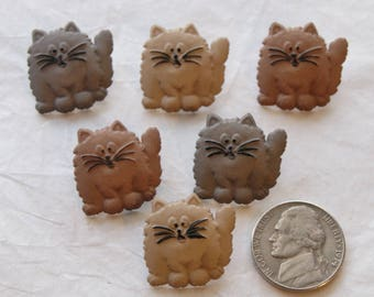 "6 Cat Buttons, 7/8"",  Fat Cat Embellishments, Shank (AC 54)"