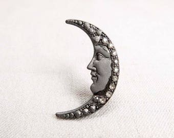 Vintage 1980s Crescent Moon Face Brooch or Pin, Art Deco or Art Nouveau Style, Crescent Moon Shaped Brooch with Rhinestones