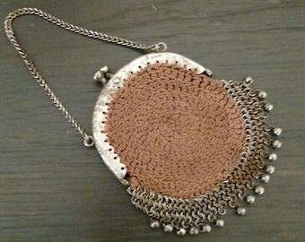Antique Victorian Crochet Brown Cotton small coin purse    Nice Steampunk for Attire