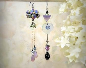 Blue Flower Earrings Asymmetrical Floral Earrings Purple Lavender Flower Earrings Green Flower Earrings Blue Mismatch Earrings Night Bloom