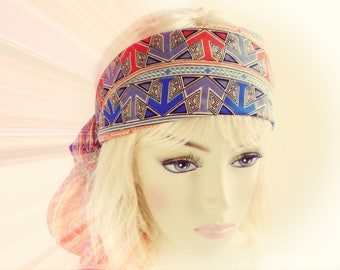 1920s Head Scarf, Red Blue 1920s Deco Head Scarf, Flapper Head Scarf, Red Blue Flapper Head Scarf