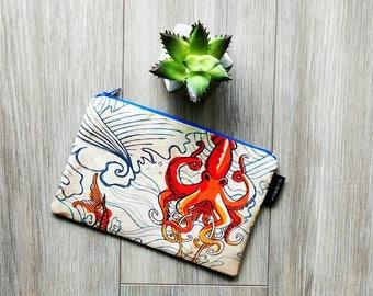 The Seven Seas Tattoo Bag - Retro Pouch - Make Up Bag - Gadget Zipper Bag