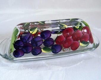 Butter dish, grapes, butter dish with grapes, painted butter dish with grapes, painted grapes