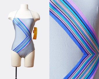 Vintage 80s Halter Swimsuit One Piece Bathing Suit GEOMETRIC STRIPED / 1980s Swim Suit Gray Blue Onepiece Retro Extra Small