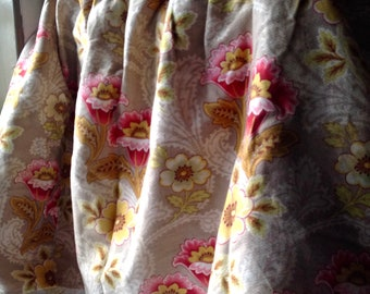 Vintage Fabric, Floral Cotton Curtain Valance / French Pelmet/ 19C Antique French Fabric, Vintage Cotton Panel Home Furnishing