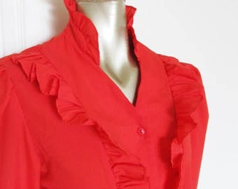 40% OFF SALE Vintage 1970's Red Blouse / Ruffled Shirt Retro High Neck Ladies Top / Size Medium