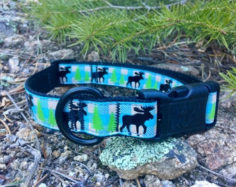 Dog Collars- Moose with Pines