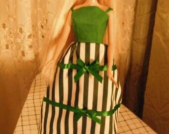 Barbie Doll Handmade Dress / Candy Stripes Barbie Dress / Handmade Doll Clothes / Gifts For Girls / Barbie Doll Dresses / Christmas