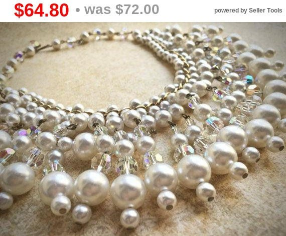 Summer Sale Dangle Pearl Necklace, Vintage Bridal Necklace