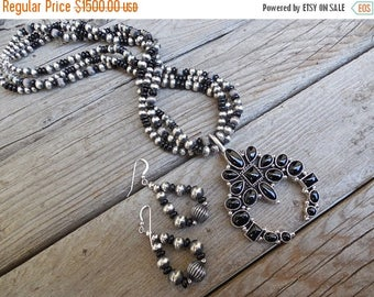 ON SALE Beautiful onyx Naja necklace and earrings set handmade and signed in sterling silver by La Rose Ganadonegro, a fine Navajo silversmi