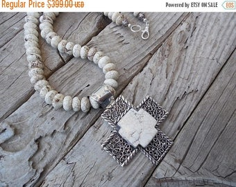 ON SALE Large Howlite cross necklace, handmade in sterling silver