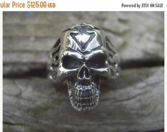 ON SALE Flaming skull ring in sterling silver