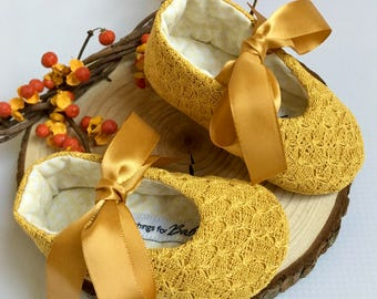 Mustard Yellow Baby Shoes // ribbon ties soft sole toddler newborn girls- Molly