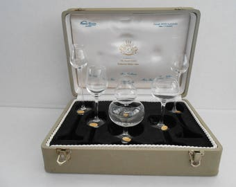 MOSER Brandy SNIFTER'S Boxed Set Moser Club Signed Glass Physiognomical MINIATURE Snifter Set 6 Mid Century Barware Brandy Tasting 1960s Bar