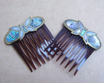 Vintage hair combs Mexican comb butterfy brass, abalone shell mother of pearl inlay hair accessories hair jewelry hair ornament hair pin