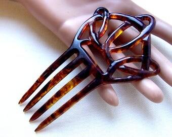 Art Nouveau hair comb celluloid interlaced hair accessory hair pin hair pick hair form decorative comb