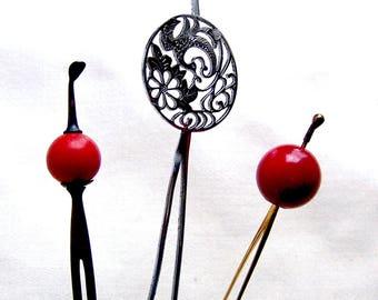 3 vintage Japanese Kanzashi hair pins ball top hair accessory hair pick hair fork geisha hair ornament