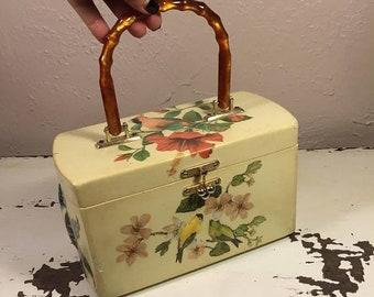 Anniversary Sale 35% Off The Birds of Belize - Vintage 1950s Birds on Floral Shrubs Decoupage Wooden Handbag
