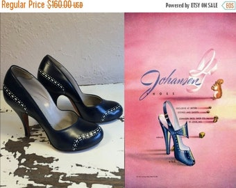 Anniversary Sale 35% Off Her Wing Commander - Vintage 1940s WW2 Navy Leather & White Punch Detail Heels Pumps - 5.5/6