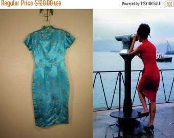 Anniversary Sale 35% Off His Little China Girl - Vintage 1960s Turquoise Rayon Chinese Wiggle Mandarin Dress  - 2