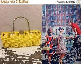 Anniversary Sale 35% Off Down at the Quay - Vintage 1950s Bright Sunflower Yellow Vinyl Straw Barrel Handbag
