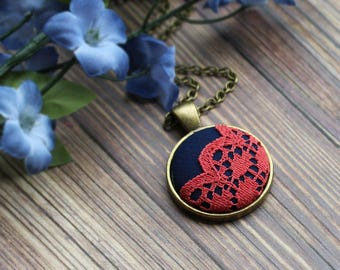 Coral And Navy Necklace With Lace, Unique Bridesmaid Jewelry, Pink And Blue Pendant