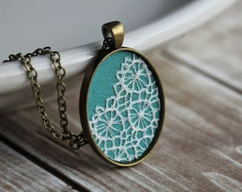 Mint Necklace, Lace Oval Green Pendant, Victorian Art Nouveau Bridesmaid, Gift For Wife, Mom, Women, Boho Pastel Jewelry