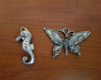 Butterfly and Seahorse Pendants