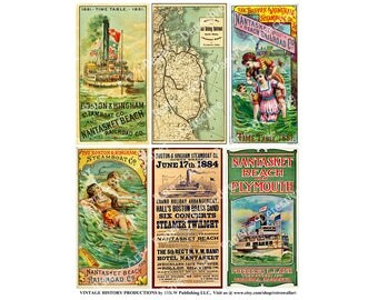 Steamship and Railroad Timetables, Digital Sheet, Boston Rail Map, Steamboat Schedules, Nantasket Beach Railroad, Old Colony, Steamship, 571
