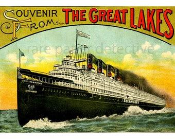 "Steamship Poster, Home Decor Print, 5"" x 7"", Great Lakes Steamboat, Steamship Souvenir, Wall Art Print, Vintage Nautical Travel Cruise Paper"