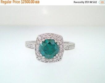 10% ON SALE 1.41 Carat Fancy Green & White Diamond Engagement Ring 14K White Gold Bridal Ring Pave Set handmade Certified