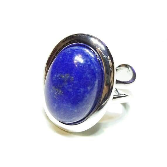 Blue Lapis Lazuli Gemstone Adjustable Ring 23 x 17mm