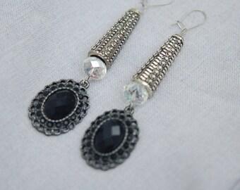 Silvertone Black & Clear Gothic Drop Earrings