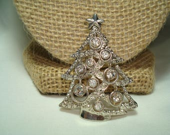 1992 Silvery Rhinestone Christmas Tree Pin and Slider Pendant  Combo.