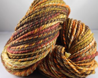 Handspun Yarn Gently Thick and Thin Two Ply Bulky Australian Merino 'Fallen'