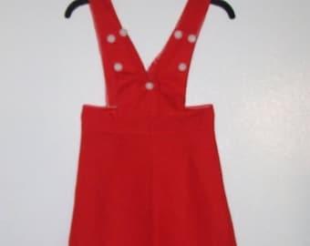 70% ON SALE Lovely Red Highwaist Suspender Skirt/Jumper Mini Dress Bust 30 Waist 24 Hip 32