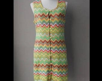ON SALE Colorful Chevron Knitted Day Dress Bust 36 Waist 32 Hip 38