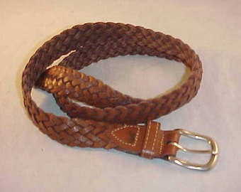 Braided Leather Belt Size 36 Made In Argentina