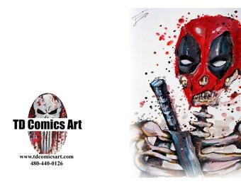 Deadpool greeting card of original comic art marvel art,comics,black Friday,super heroes, villains,dc comics,wall art,home decor,marvel art