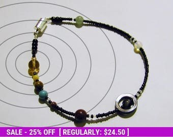 June SALE! MiniVerse - Solar System Anklet - 10.5in - Proportional Distances in Glass and Stone - Solar System Bracelet by Chain of Being