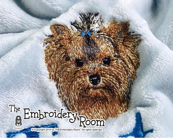 Yorkie-Embroidered Dog Blanket
