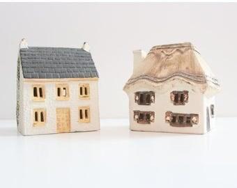 50% half off sale // Vintage Set of Two O'Donoghue House Ceramic Money Box Banks // UK pottery, thatched home shape