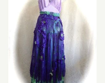 HUGE SALE Boho Chic Neo Victorian Skirt in Royal Purple and Green, Upcycled Recycled Skirt And Dress, Crochet Flowers, Handmade Ribbon Trim