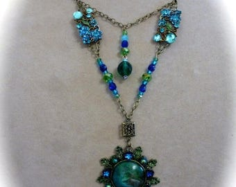Clearance Sale Neo Victorian 2 Layer Pendant Necklace in Blues and Greens
