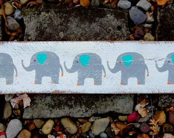 Baby Elephant Sign in Reclaimed Wood - Rustic Children's Room Artwork - Handpainted Original Nursery Art - Gray, Orange and Turquoise