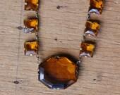 Antique 1930s Czechoslovakian amber glass collar necklace