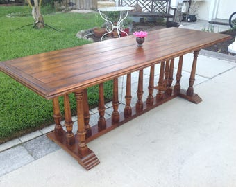 "CHATEAU TRESTLE TABLE 90"" Long / Vintage Trestle Dining Table with Balusters and Plank Top / French Rustic Baluster Table Retro Daisy Girl"