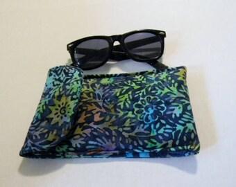 Blue Floral Batik Sunglasses Case