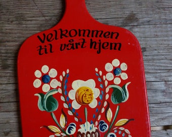 Norwegian wood wall hanging / floral / red / vintage / welcome to our home / hand painted /scandi / made in norway / welcome sign